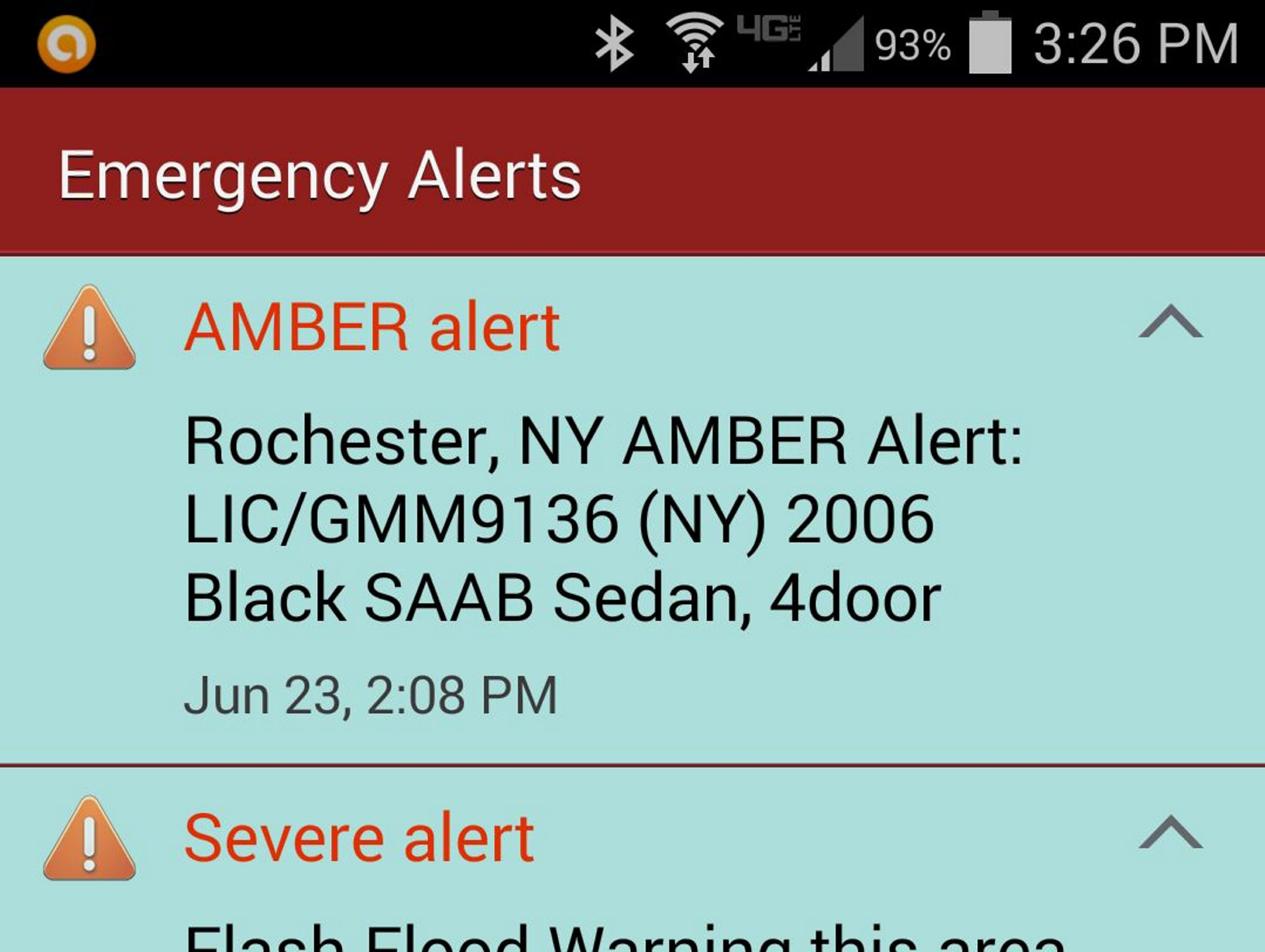 The Amber Alert as it appeared on an Android device.