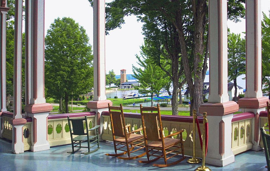 View from the porch of the historic Athenaeum Hotel inside the Chautauqua Institution. (Courtesy of Chautauqua Institution)