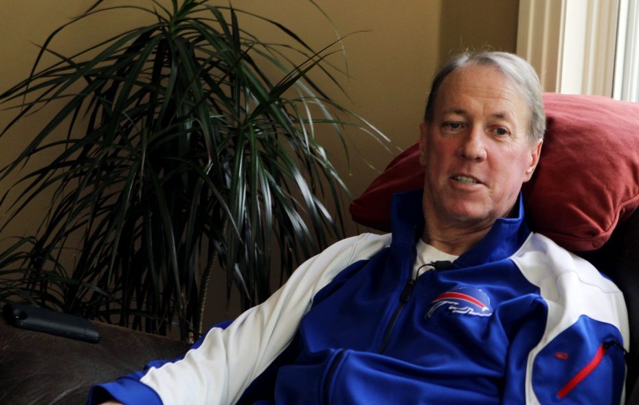 Jim Kelly talks about his cancer at his home in Orchard Park in May 14, 2014. (James P. McCoy/ Buffalo News)