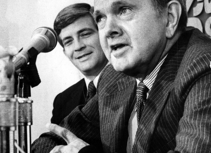 Ralph C. Wilson Jr. introduces Kay Stephenson as his head coach in a February 1983 news conference. (Buffalo News file photo)