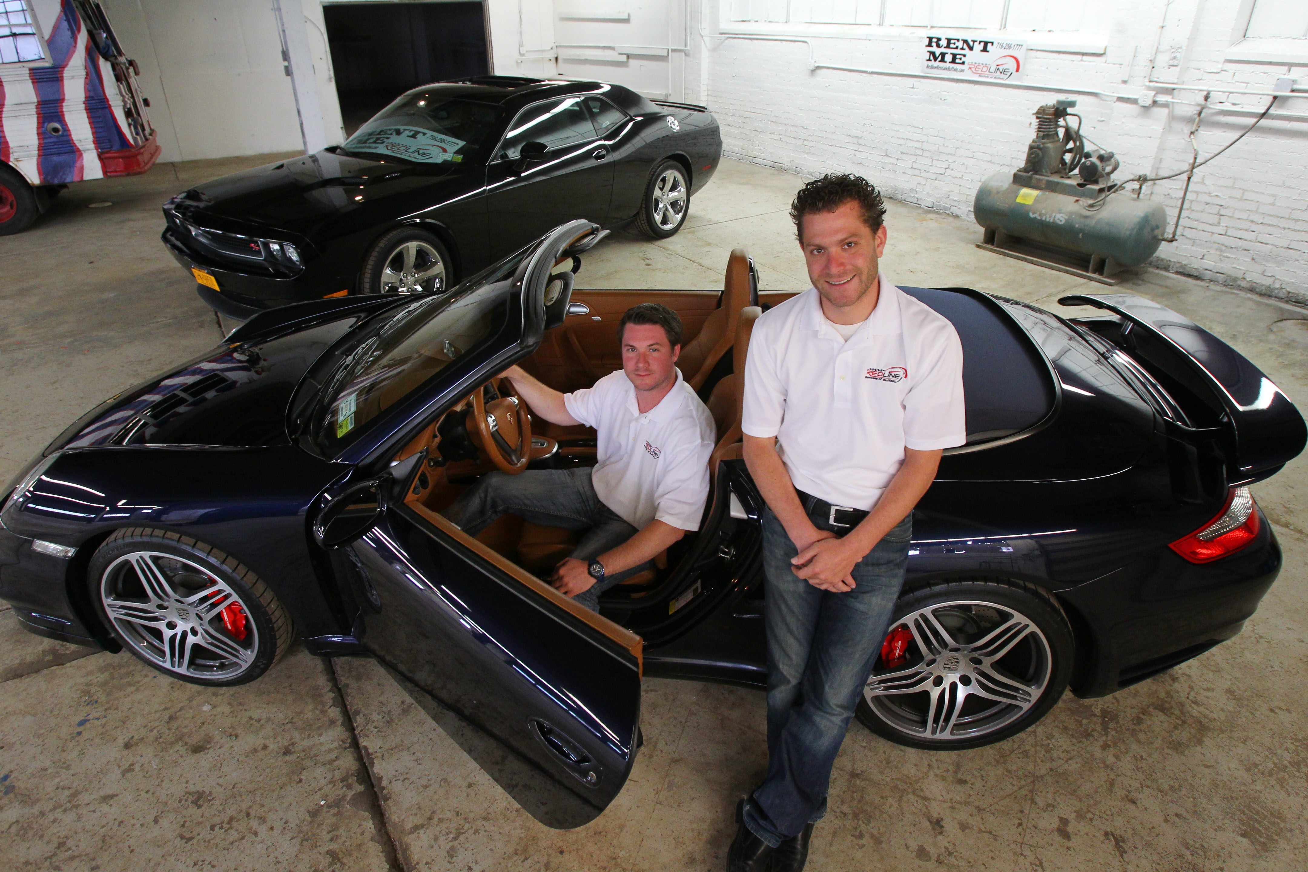 Redline Rentals co-owners Gregory Straus, left, and Matthew Bona give local drivers the opportunity to get behind the wheel of a 2008 Porsche, a 2011 Corvette or a 2012 Dodge Challenger .