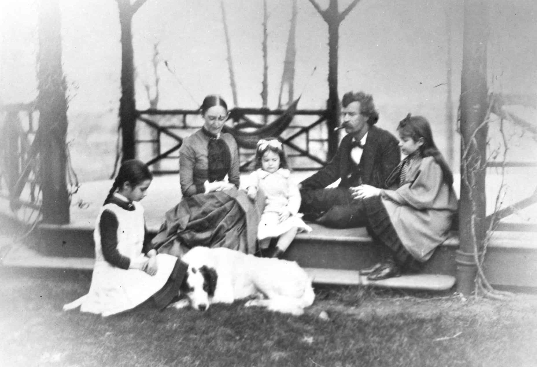 The Clemens family on the porch. From left, Clara, Olivia Langdon Clemens, Jean, Samuel Clemens (Mark Twain) and Susy. Sam and Olivia Clemens lived in Buffalo for 18 months starting in 1870.