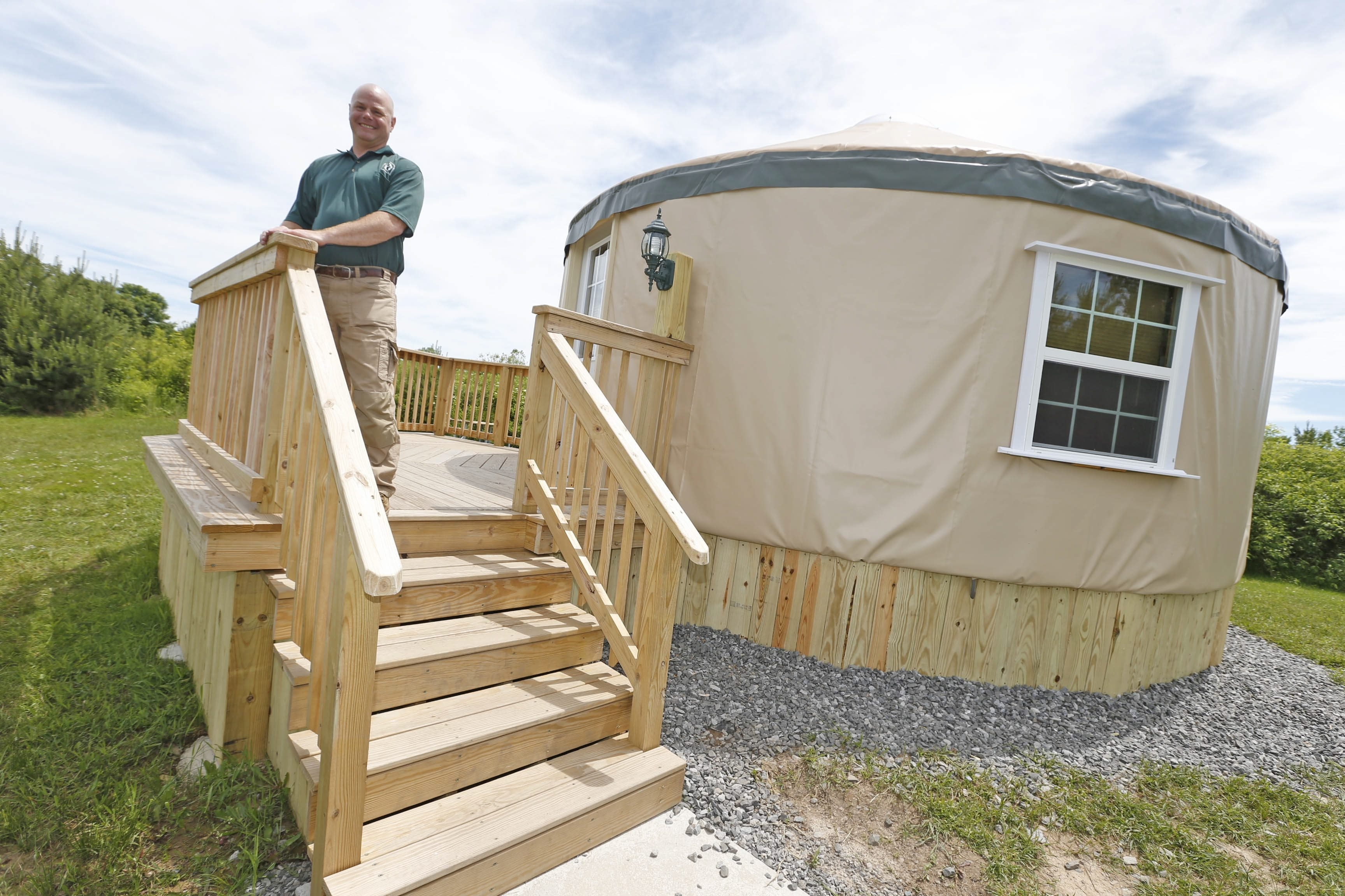 Eric Hoppe, manager at Golden Hill State Park in Barker, says campers who stay in yurts have nice views of Lake Ontario from their decks.