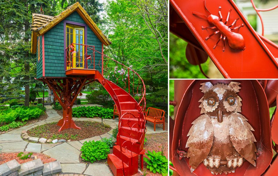 Ants, spiders, bats, owls and more were fashioned into the ironwork of this Southtowns treehouse by sculptor Paul Boccolucci. (Michael P. Majewski)