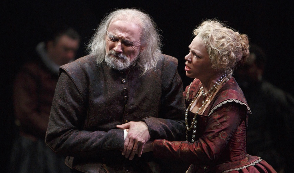 Colm Feore as King Lear and Liisa Repo-Martell as Regan in King Lear. Photo by David Hou.