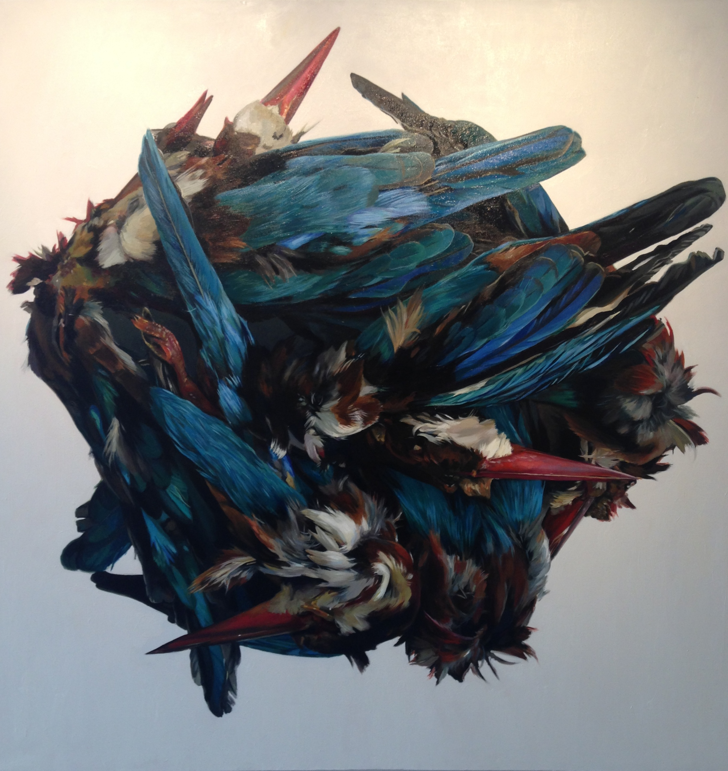 Augustina Droze's painting 'Kingfishers in Mound' is on view in Indigo Art through Aug. 8.
