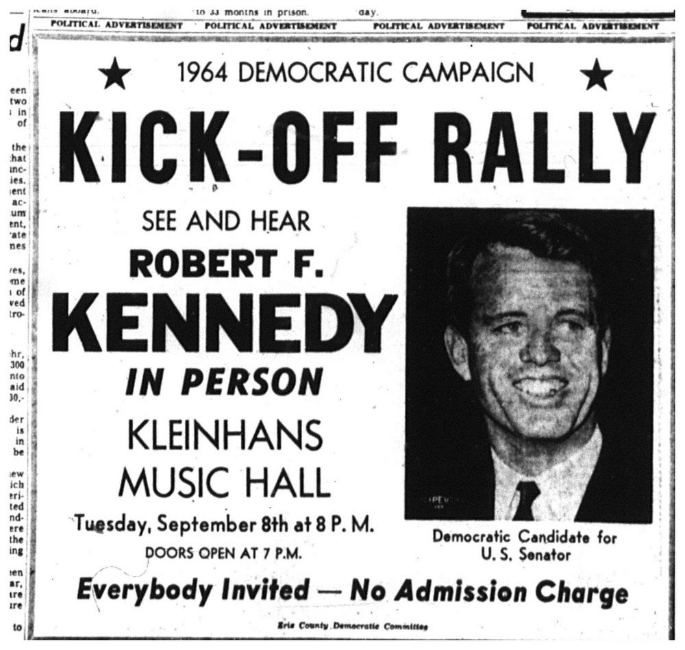 Sept. 1, 1964: Robert Kennedy to run for Senate; first stop: Buffalo