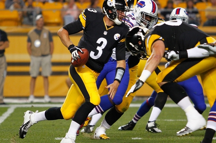 The Bills' defense did a good job clogging running lanes against the Steelers on Saturday as  Landry Jones (3) has no where to run on this third-quarter play at Heinz Field in Pittsburgh. (Photo by Justin K. Aller/Getty Images)