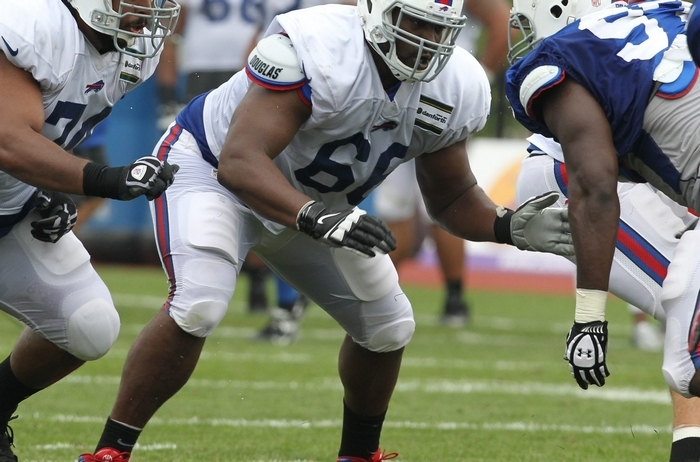 Rookie Seantrel Henderson (66) will start at right tackle for the Bills, while veteran Erik Pears (not shown here) will shift over to right guard.  (James P. McCoy/ Buffalo News)