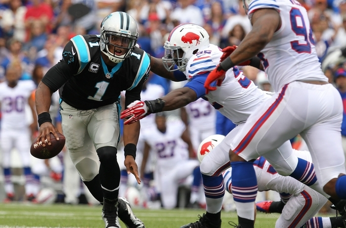Many teams -- including the Bills -- had Carolina Panthers quarterback Cam Newton on the run last year. (Mark Mulville/Buffalo News)