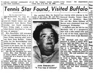21 aug 1954 tennis star found in Buffalo amnesia
