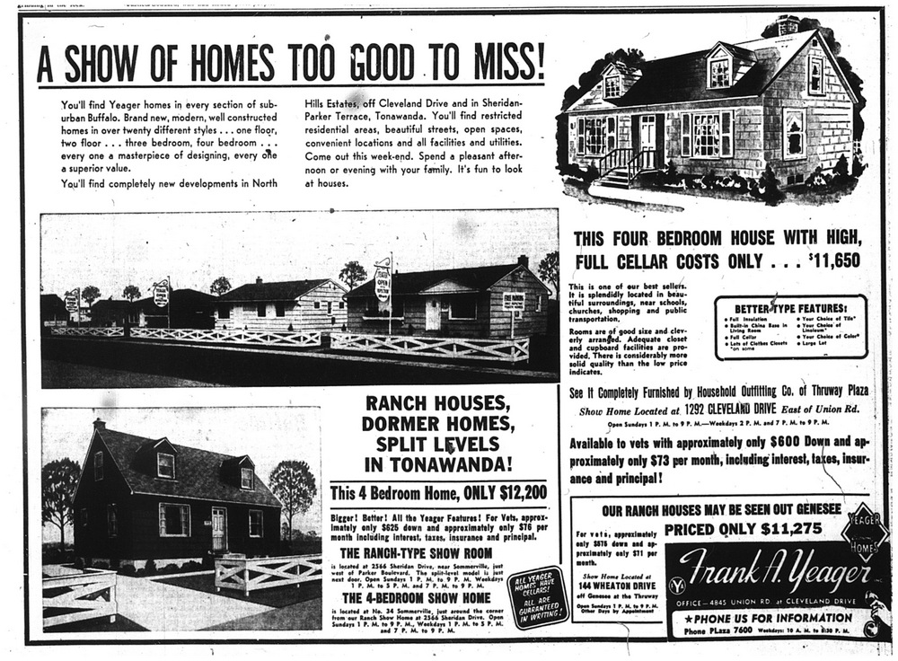 Aug. 21, 1954: $12,200 buys a four-bedroom home in Tonawanda