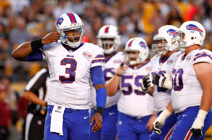 There are more questions than answers regarding Bills quarterback EJ Manuel and his backups to consider them a playoff contender.  (Photo by Justin K. Aller/Getty Images)