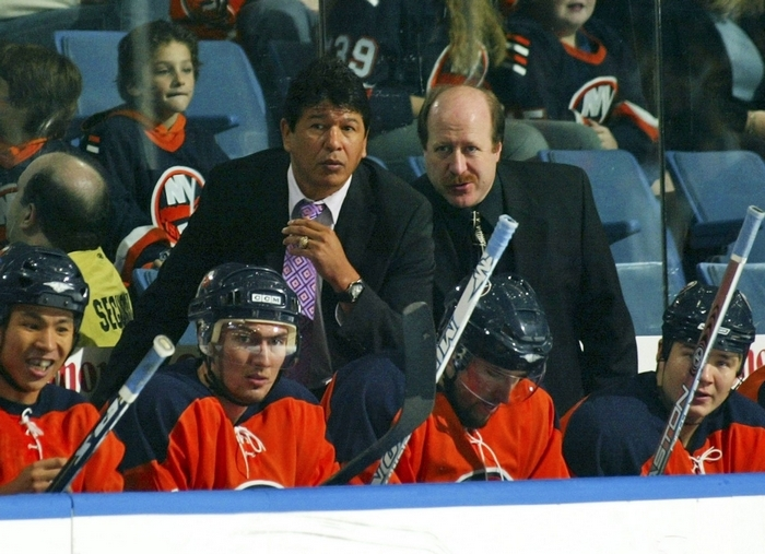 Ted Nolan officially announced his assistant coaches for the upcoming Sabres season and will be reunited with Danny Flynn, right, who served as an assistant with him during his time as coach of the New York Islanders.  (Photo by Bruce Bennett/Getty Images)