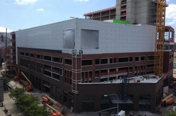 Construction of HarborCenter continues to move along quickly. (Mike Harrington/Buffalo News)