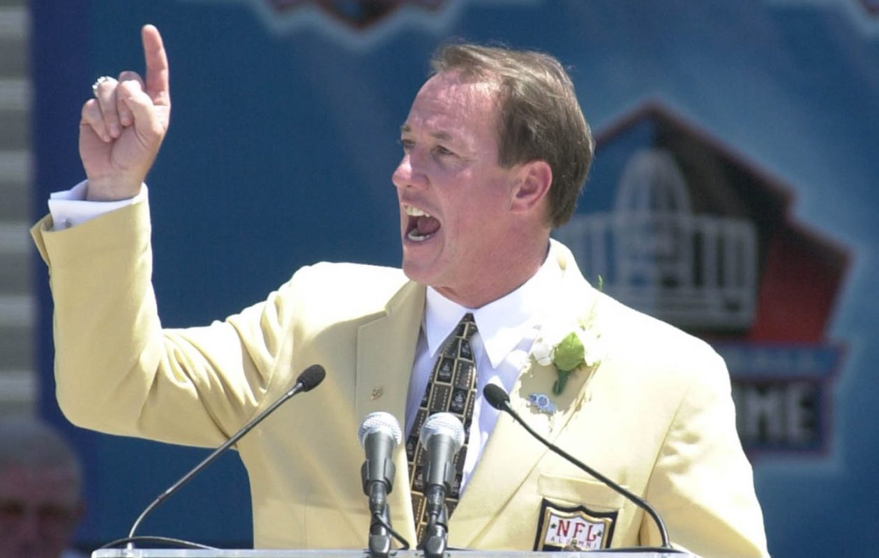 Jim Kelly, here at his 2002 induction ceremony, is one of the athletes featured in the 'A Game for Life' exhibit in the Pro Football Hall of Fame in Canton, Ohio. (James P. McCoy/Buffalo News)