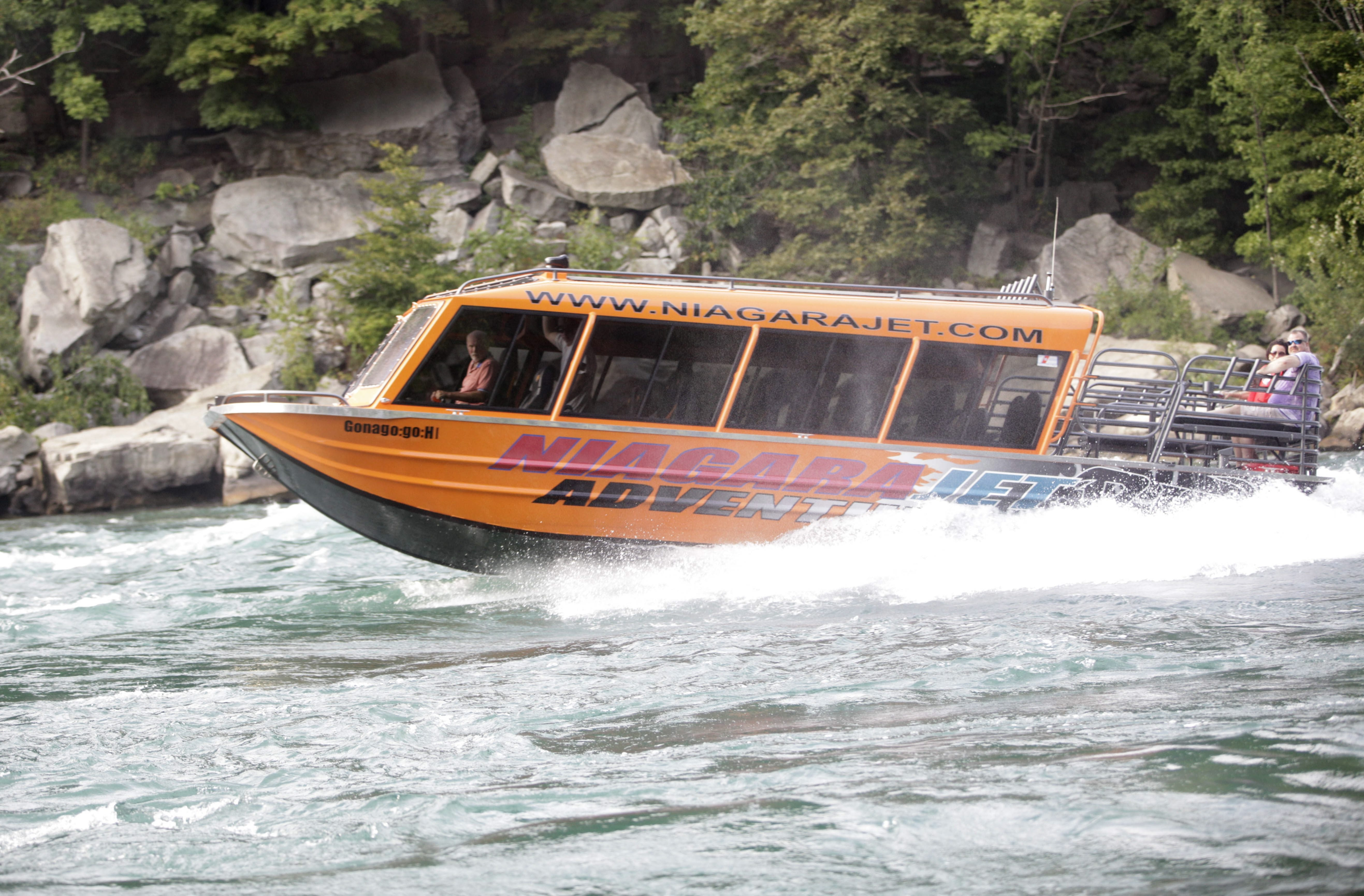 A Niagara Jetboat Adventures boat braves churning waters near Devil's Hole on Saturday. See a video and a photo gallery at BuffaloNews.com.