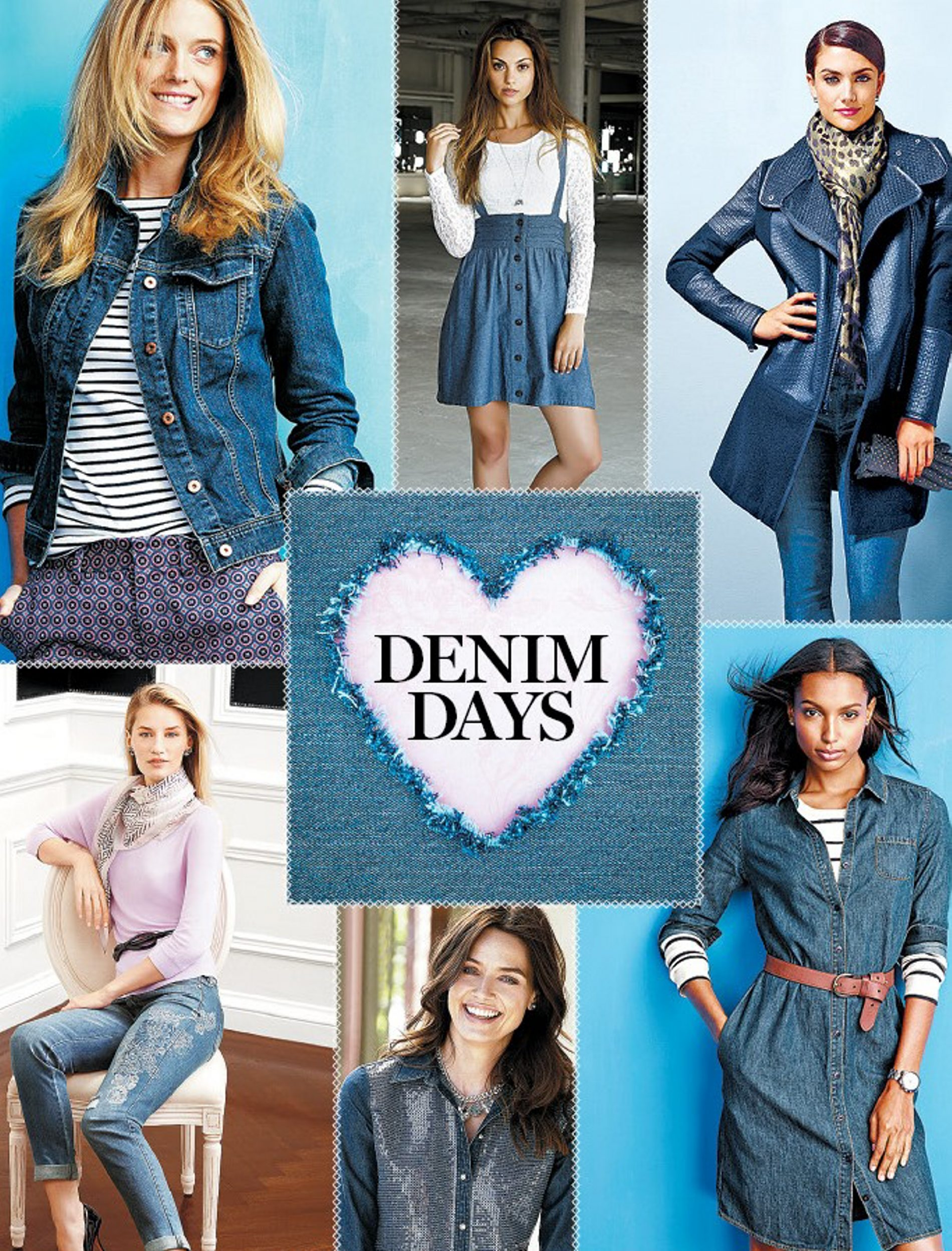 Fall options: Choices for the new season include, clockwise from top left, a denim jacket from Lands' End, a chambray suspender skirt from the Adam Levine collection for Kmart, skinny jeans shown with a quilted car coat from Caché, a denim shirtdress from Lands' End, a sequin denim Tabitha II top from Chico's and Saint Honoré girlfriend jeans paired with a pink sweater from White House Black Market.