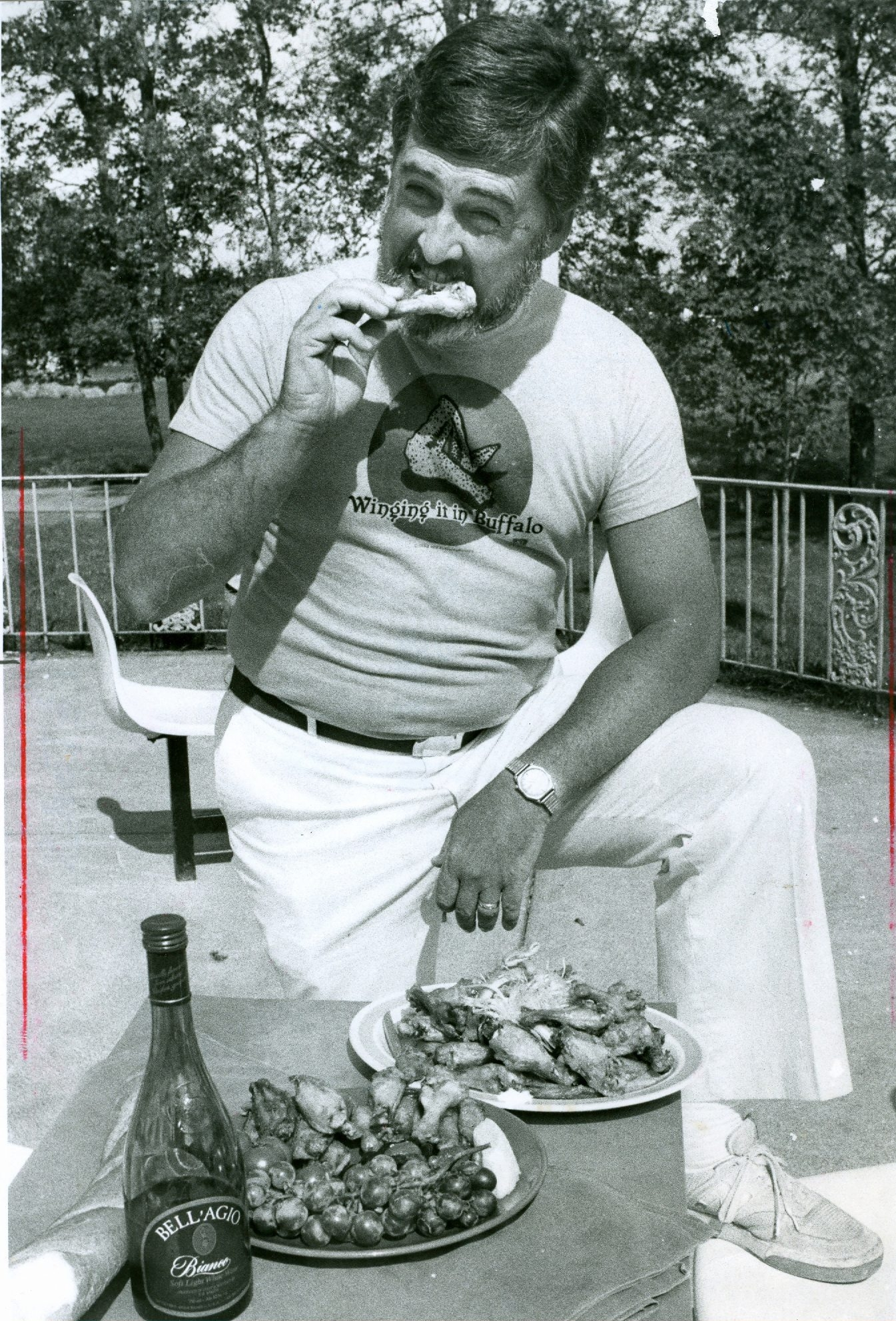 George W. Schaeffer won a healthy wing contest in 1984.