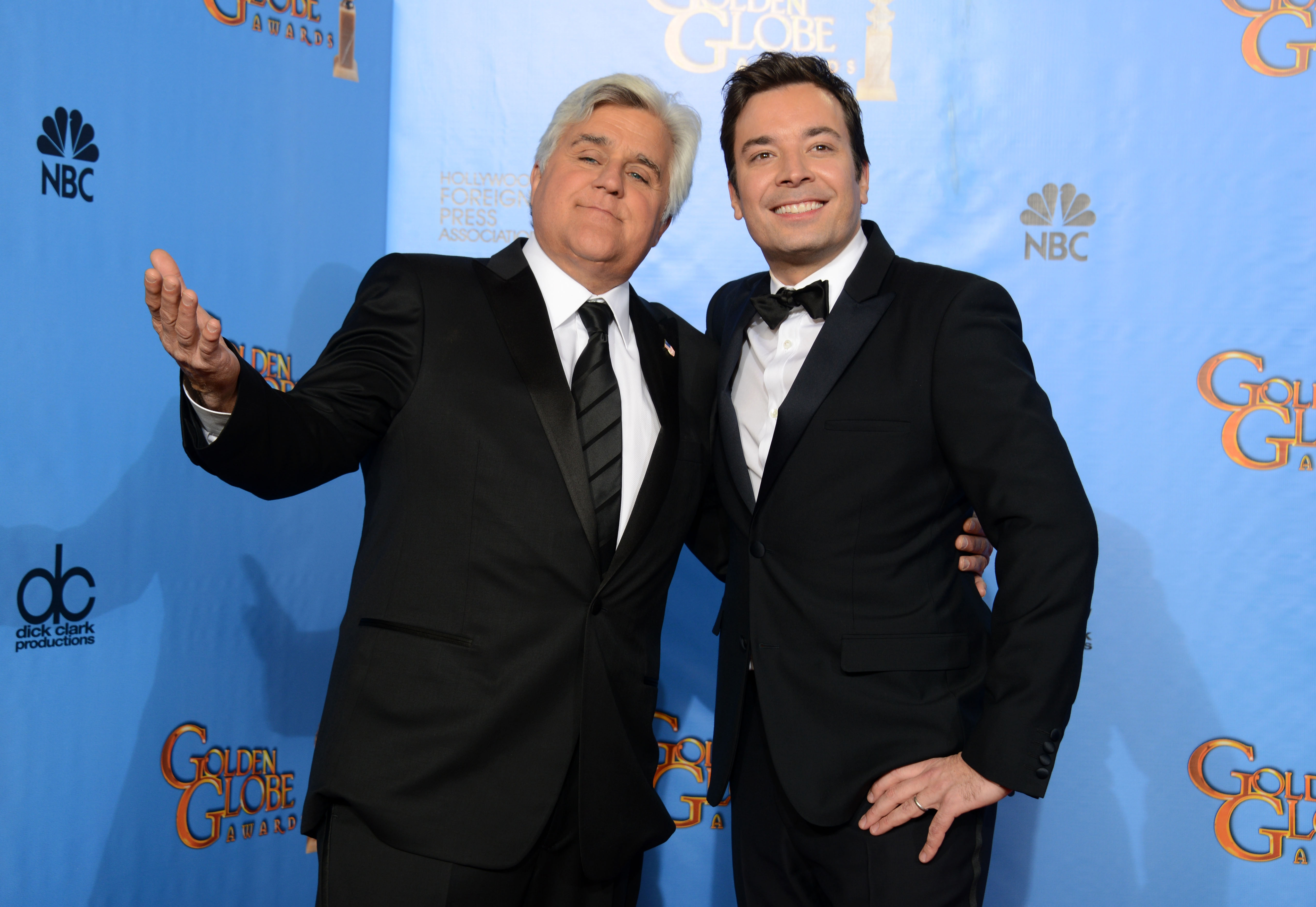 """Jimmy Fallon, right, will lead top comedians in saluting his """"Tonight Show"""" predecessor, Jay Leno, with the top humor prize in October at the Kennedy Center."""