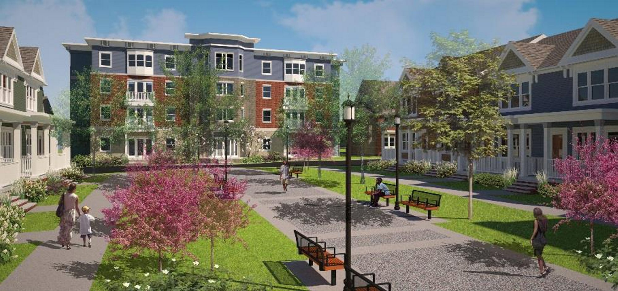 A rendering of the development planned for the Central Park plaza in the Fillmore/Leroy Neighborhood.