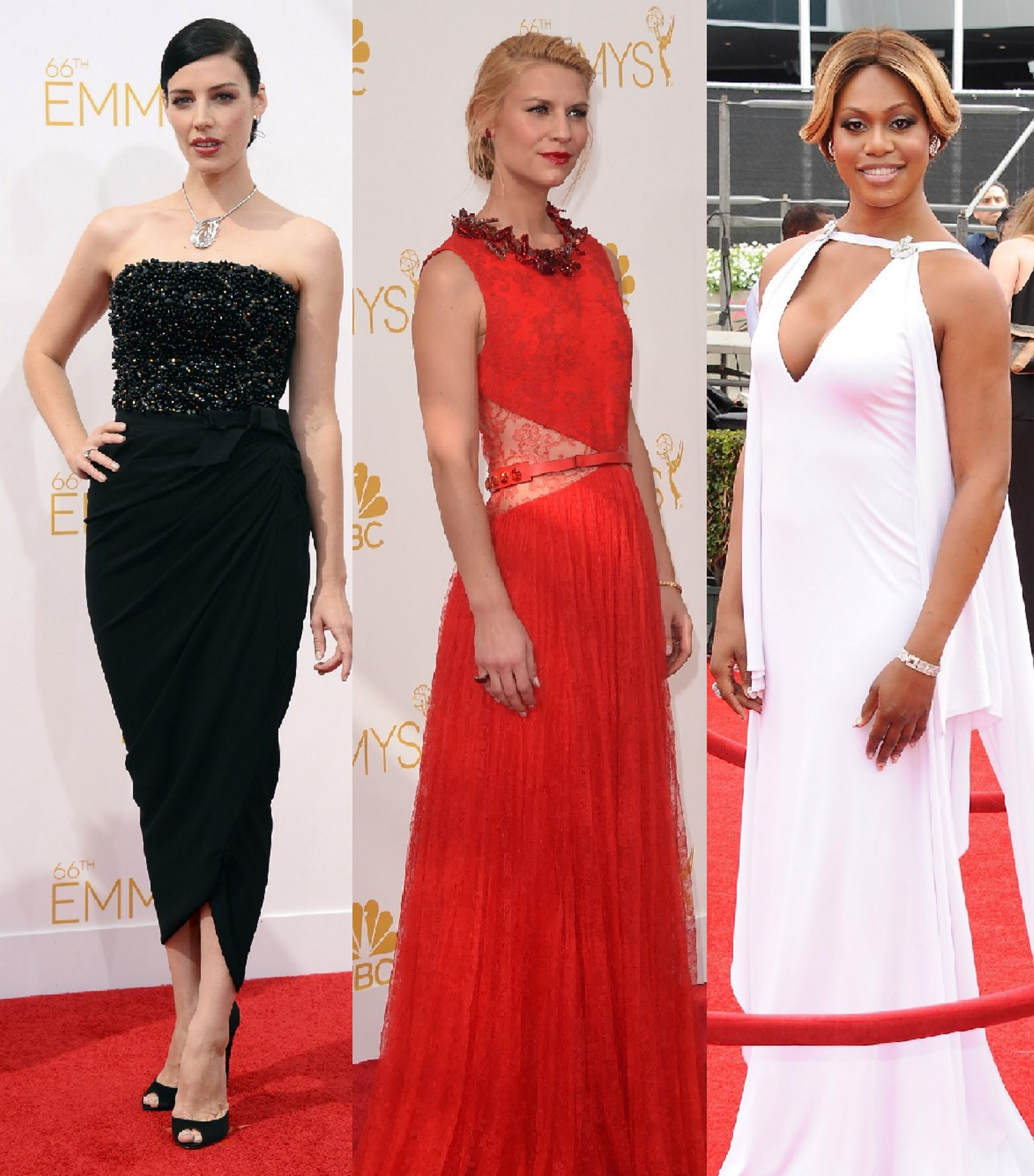 Fashions worn at Monday's Emmy Awards ceremony included Jessica Pare in Lanvin, Claire Danes in Givenchy and LaVerne Cox in Marc Bouwer. (Getty Images)