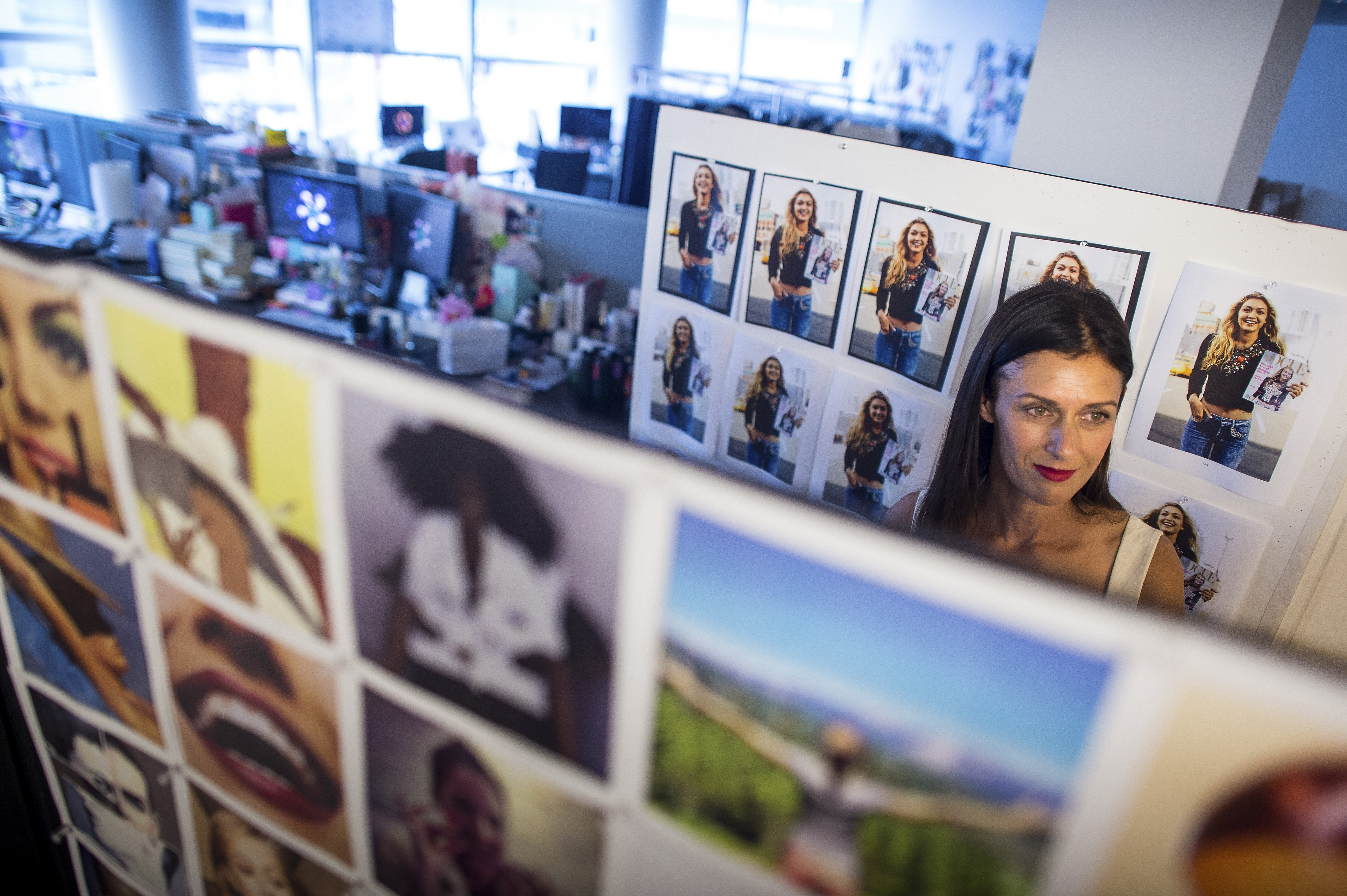 Sally Singer, Vogue's creative director for digital, looks at inspiration boards for the website's new look at the Condé Nast Times Square office in New York.