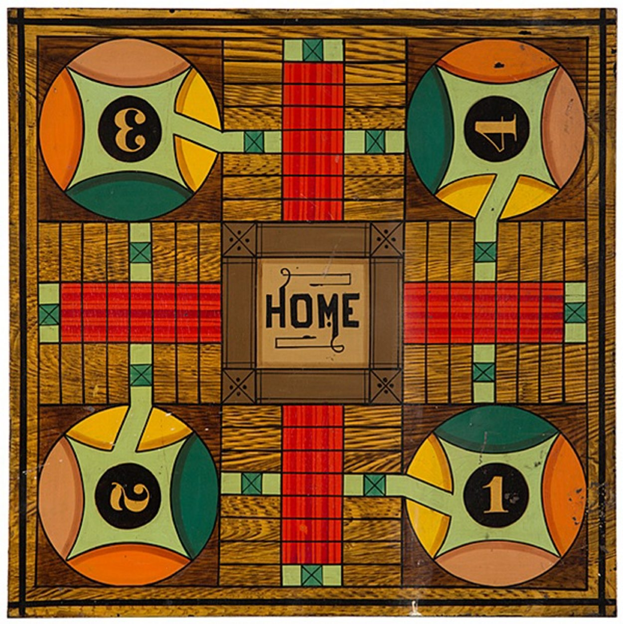 This 18-inch-square Parcheesi board is painted on metal. There is a checkerboard on the other side. Price at a 2014 Cowan auction in Cincinnati was $3,900.