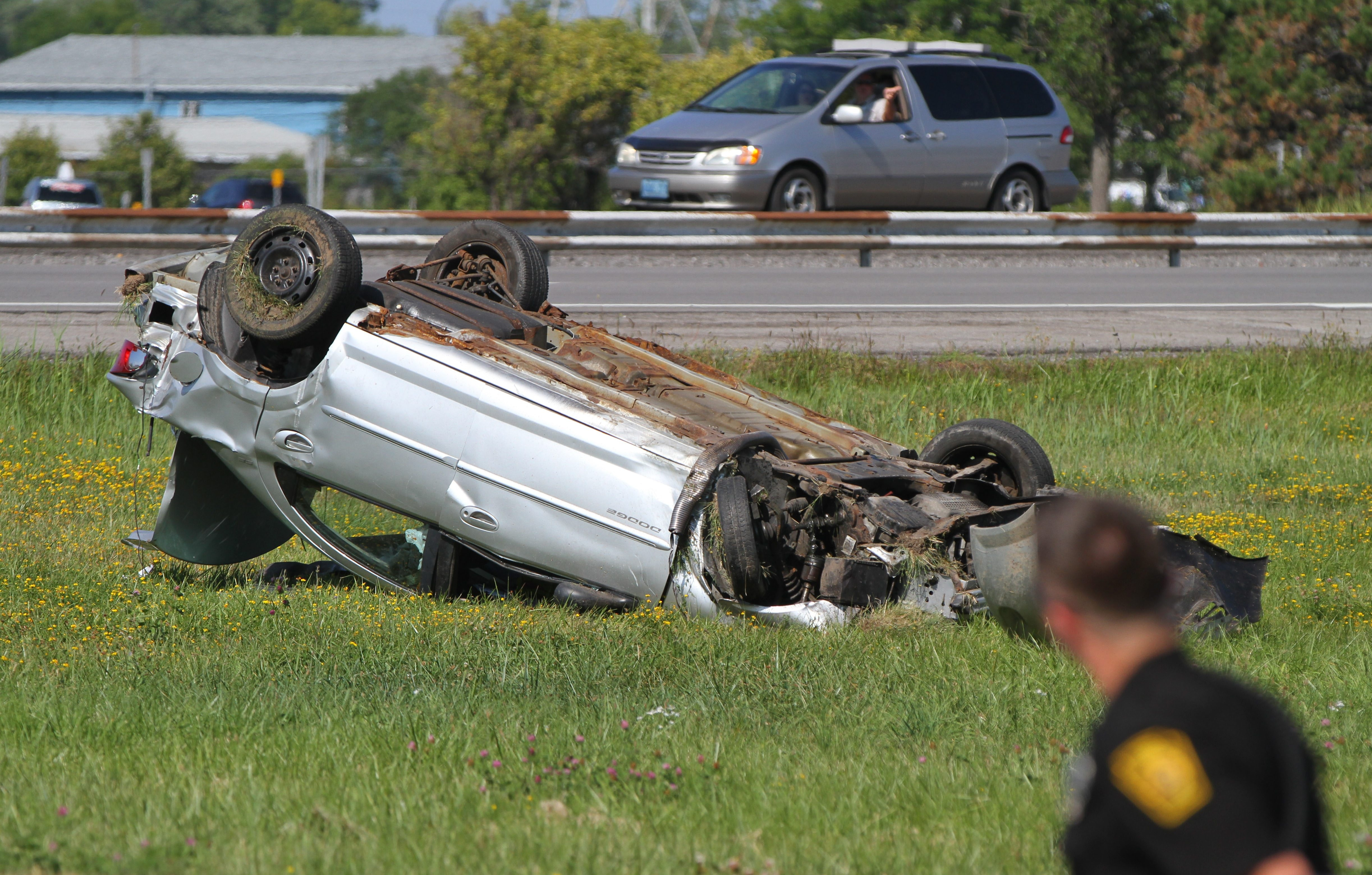 A man was killed in a rollover crash Tuesday afternoon on the Youngmann Memorial Highway's eastbound lanes east of the Elmwood Avenue exit, closing the highway for more than two hours.