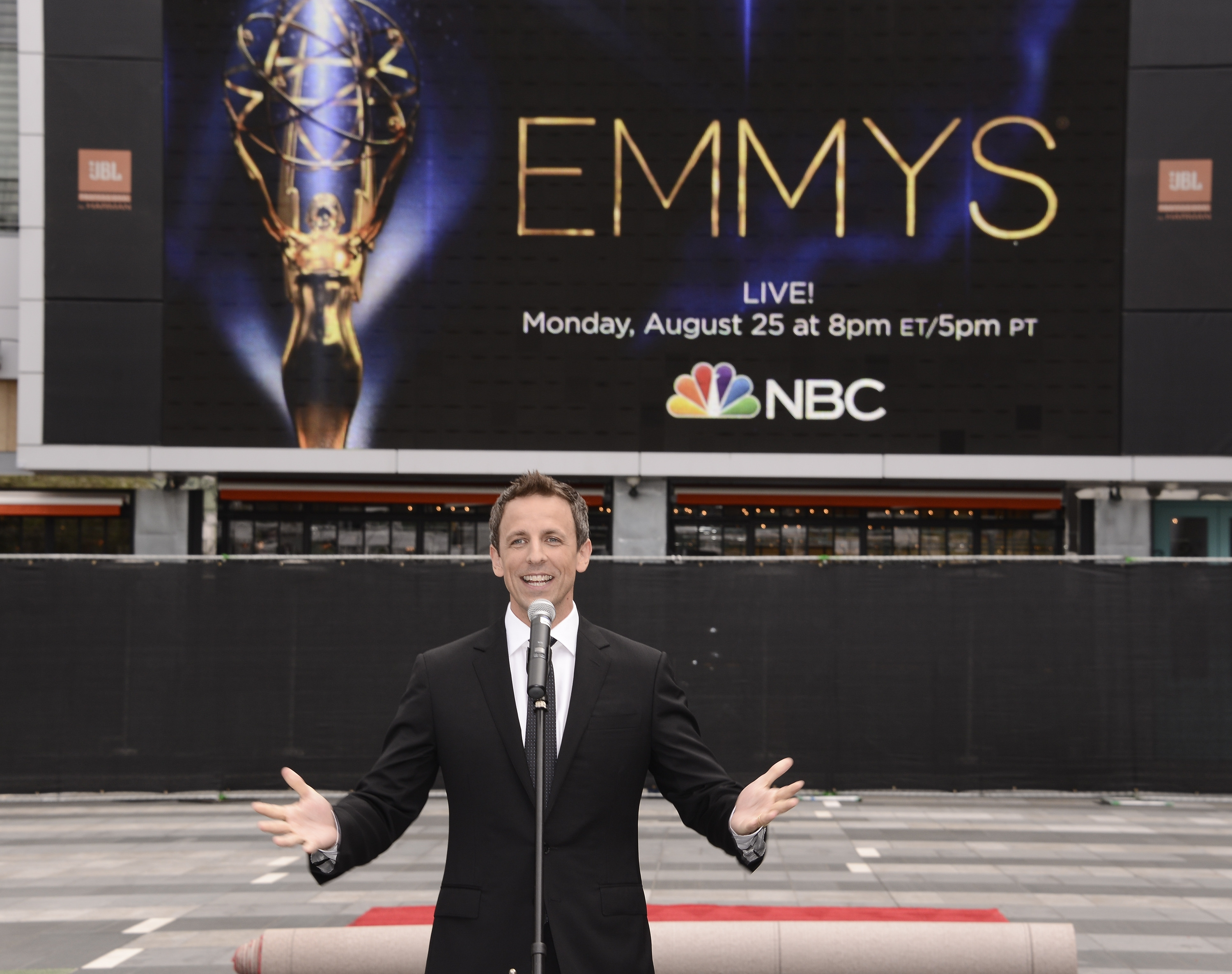 Seth Meyers speaks at the Television Academy's 66th Primetime Emmy Awards Press Preview Day and Red Carpet Rollout  at Nokia Theater L.A. LIVE.