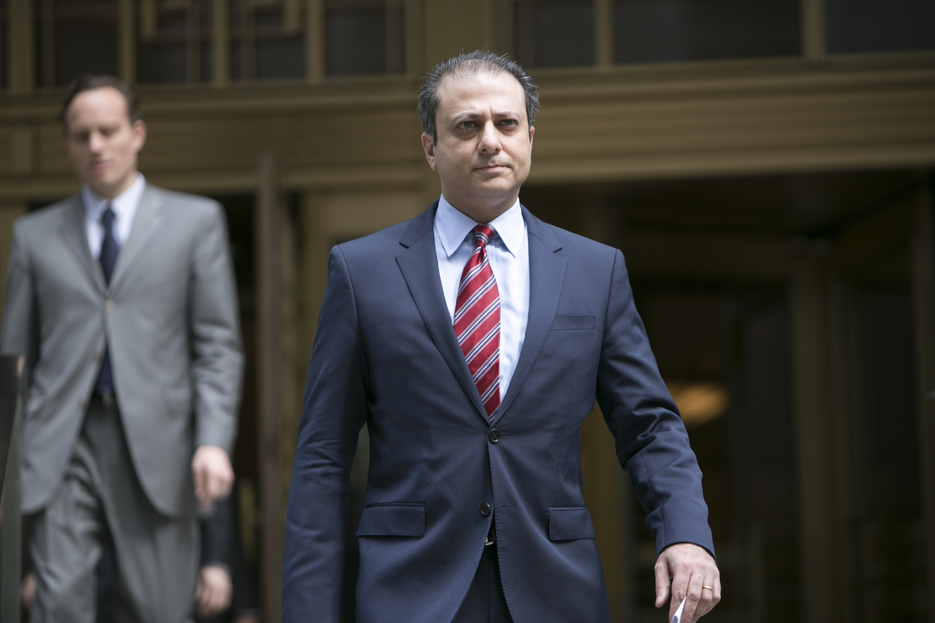 Preet Bharara, the U.S. attorney in Manhattan, speaks in New York, May 19, 2014. Bharara threatened to investigate the administration of Gov. Andrew Cuomo for possible witness tampering on July 30, escalating a confrontation over Cuomo's cancellation of his own anti-corruption commission. (The New York Times)