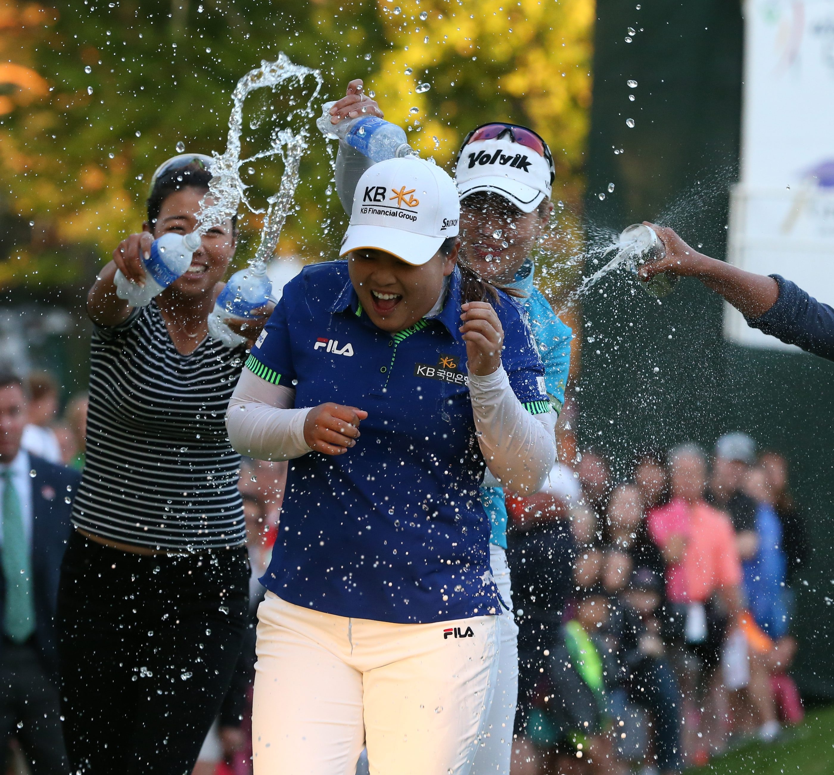 It's party time at Monroe Golf Club as players give Inbee Park a celebratory shower after winning the Wegmans LPGA Championship.