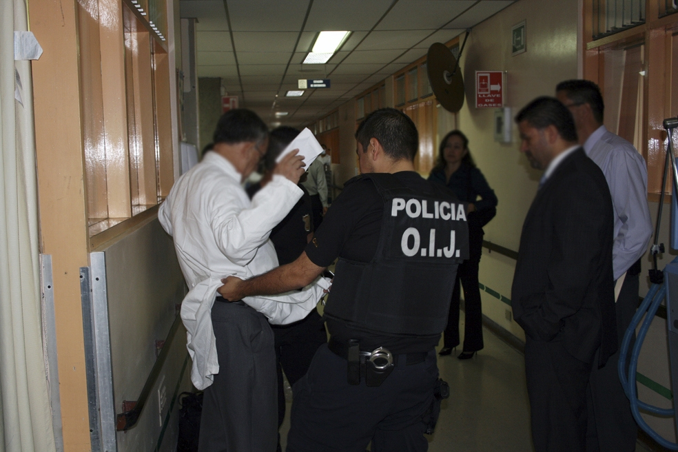 Dr. Francisco Jose Mora Palma is arrested for his alleged role in an organ-trafficking network at the Hospital Calderon Guardia in San Jose, Costa Rica.