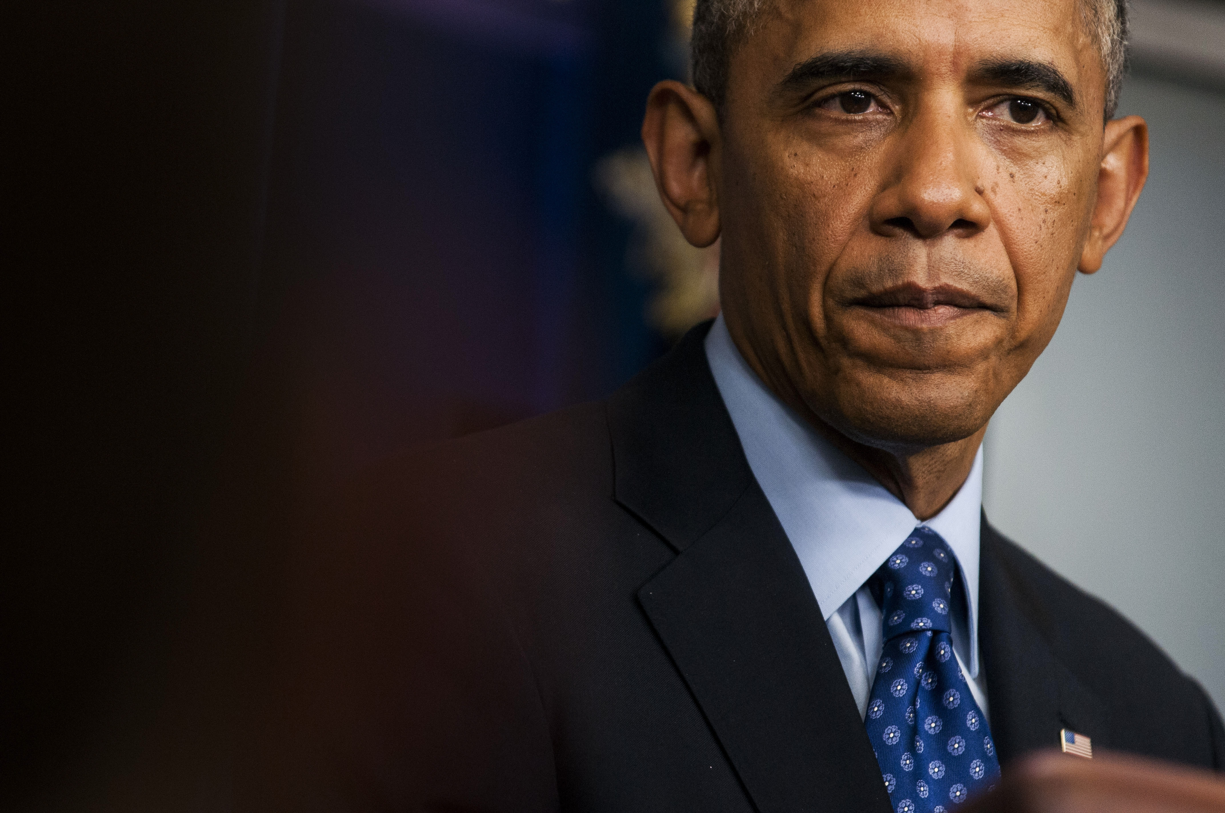 President Barack Obama delivers a statement on Iraq in the Brady Press Briefing Room at the White House in Washington, June 19, 2014. Obama said that the U.S. will deploy up to 300 military advisers to Iraq to help its security forces fend off Sunni militants, but emphasized that he will not send combat troops. (Gabriella Demczuk/The New York Times)