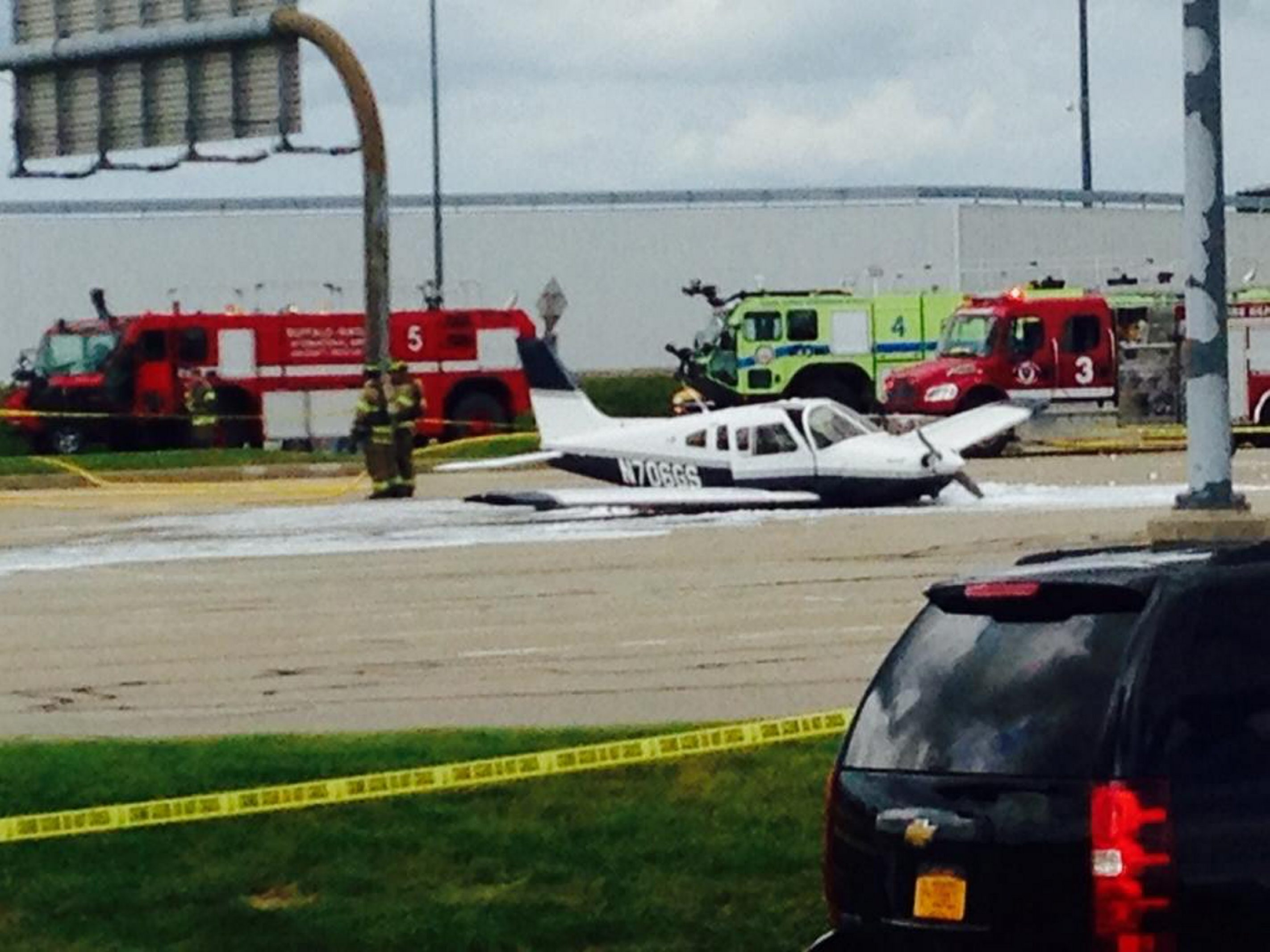 A small plane crash-landed shortly after takeoff Thursday in an empty parking lot at Buffalo Niagara International Airport in Cheektowaga.