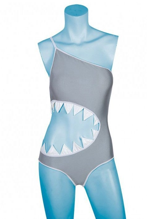 """""""Shark Bite Monokini"""" by Bad Aby at www.DiscoveryStore.com may appeal to Shark Week fans."""