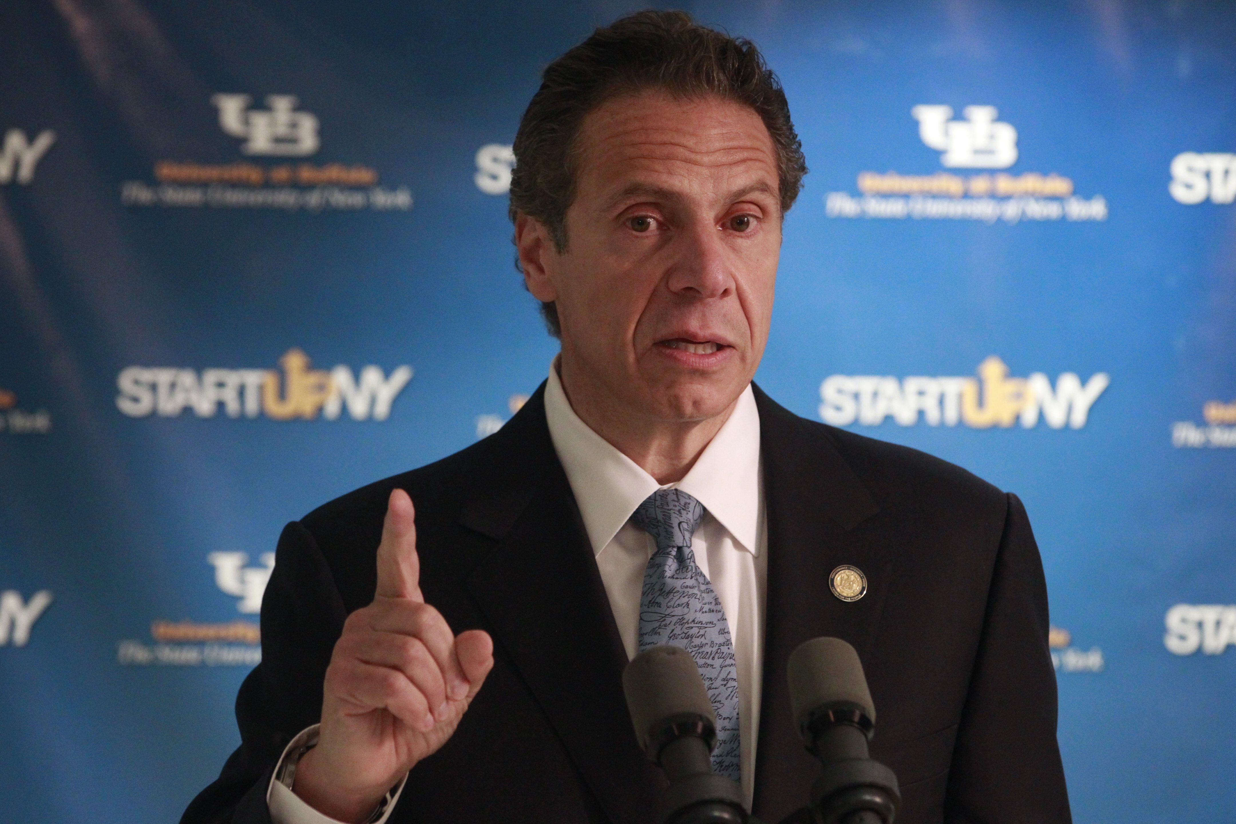 Gov. Andrew M. Cuomo made a stop at the University at Buffalo late last month. (Monday, July 28, 2014 John Hickey/Buffalo News)