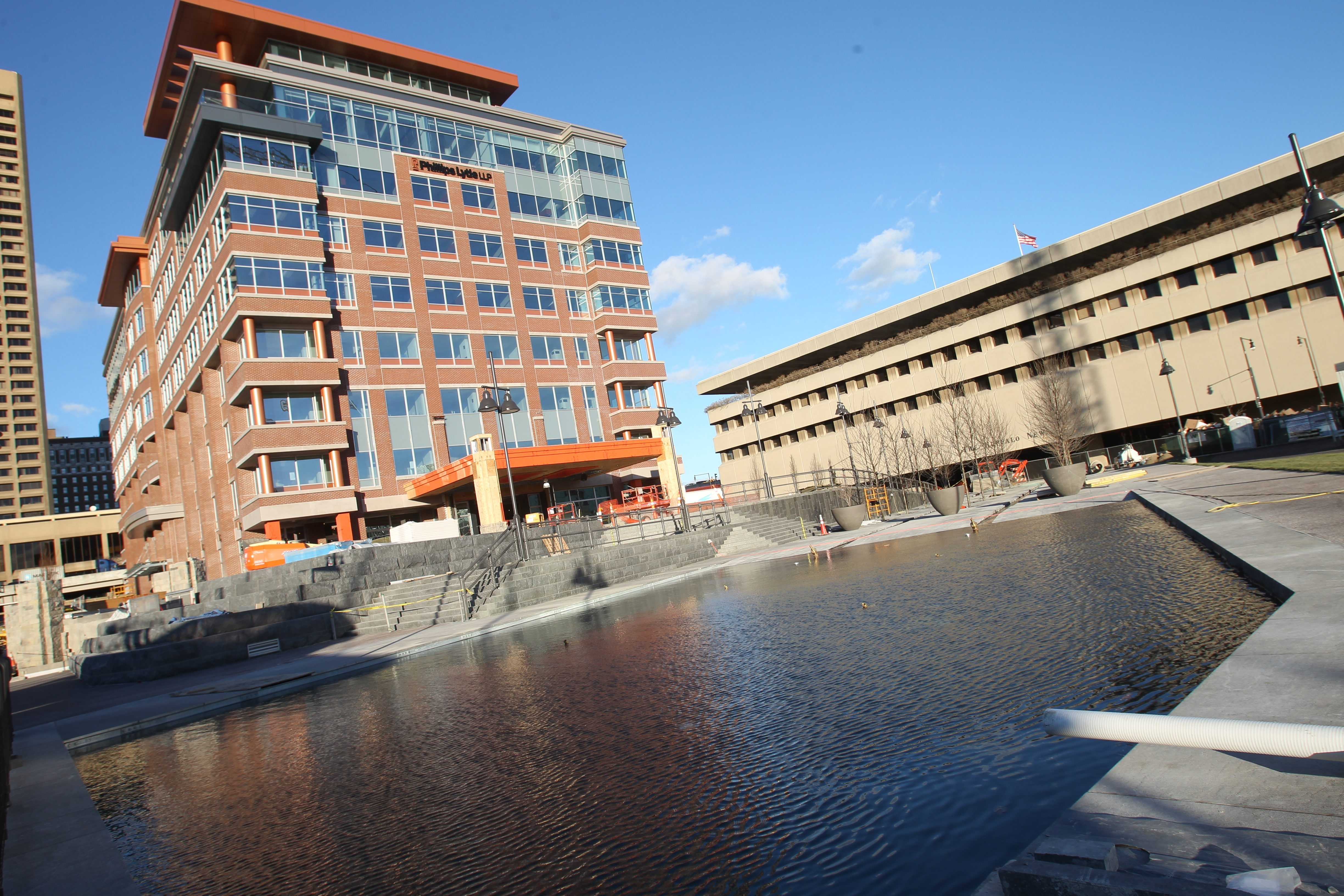 One Canalside will soon have a Pizza Plant restaurant joining a cafe, the Courtyard by Marriott hotel and the offices of Phillips Lytle LLP already in the building in downtown Buffalo. (John Hickey/Buffalo News file photo)