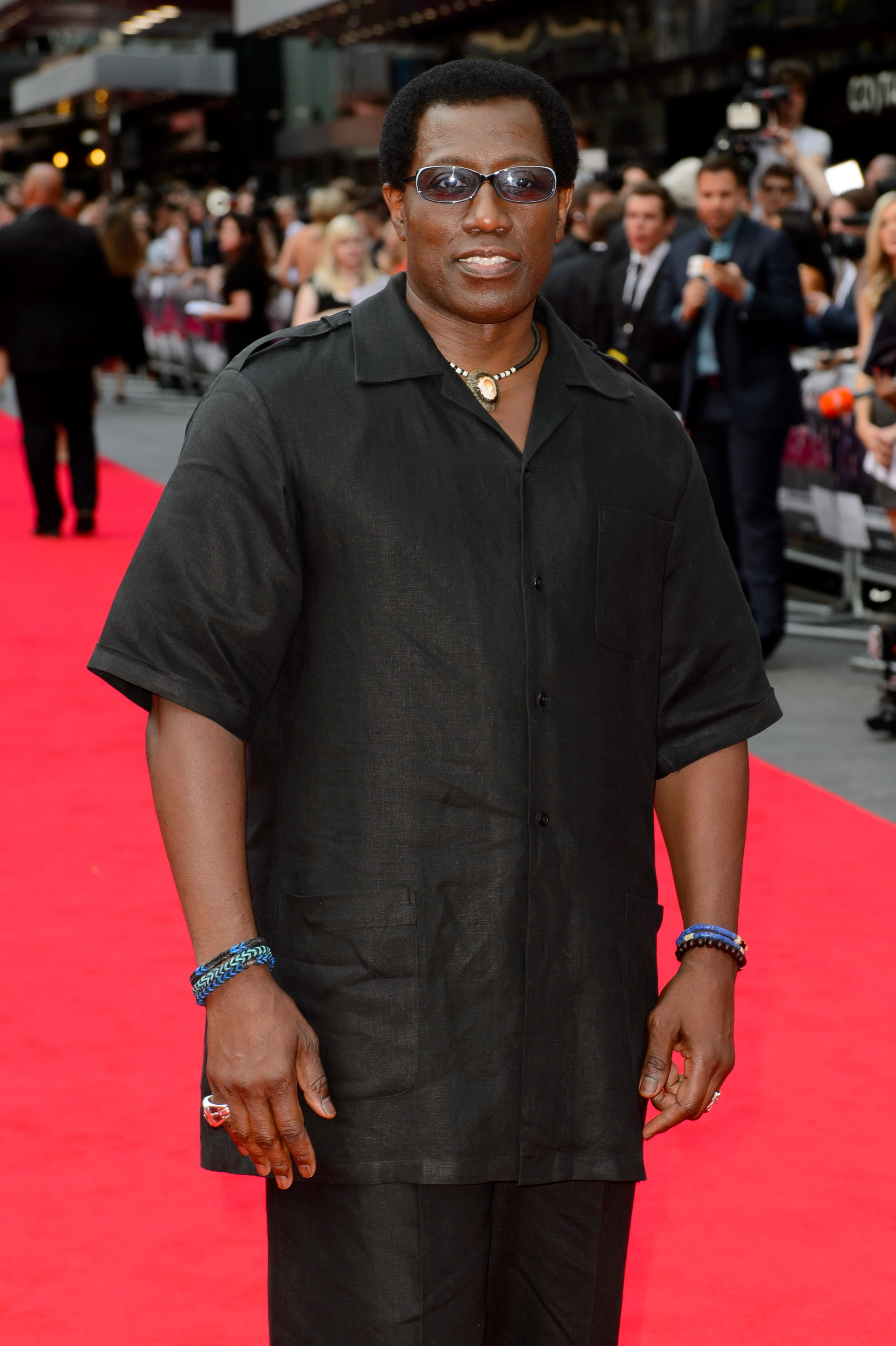 """Actor Wesley Snipes arrives for the world premiere of """"The Expendables 3"""" in London on Monday."""