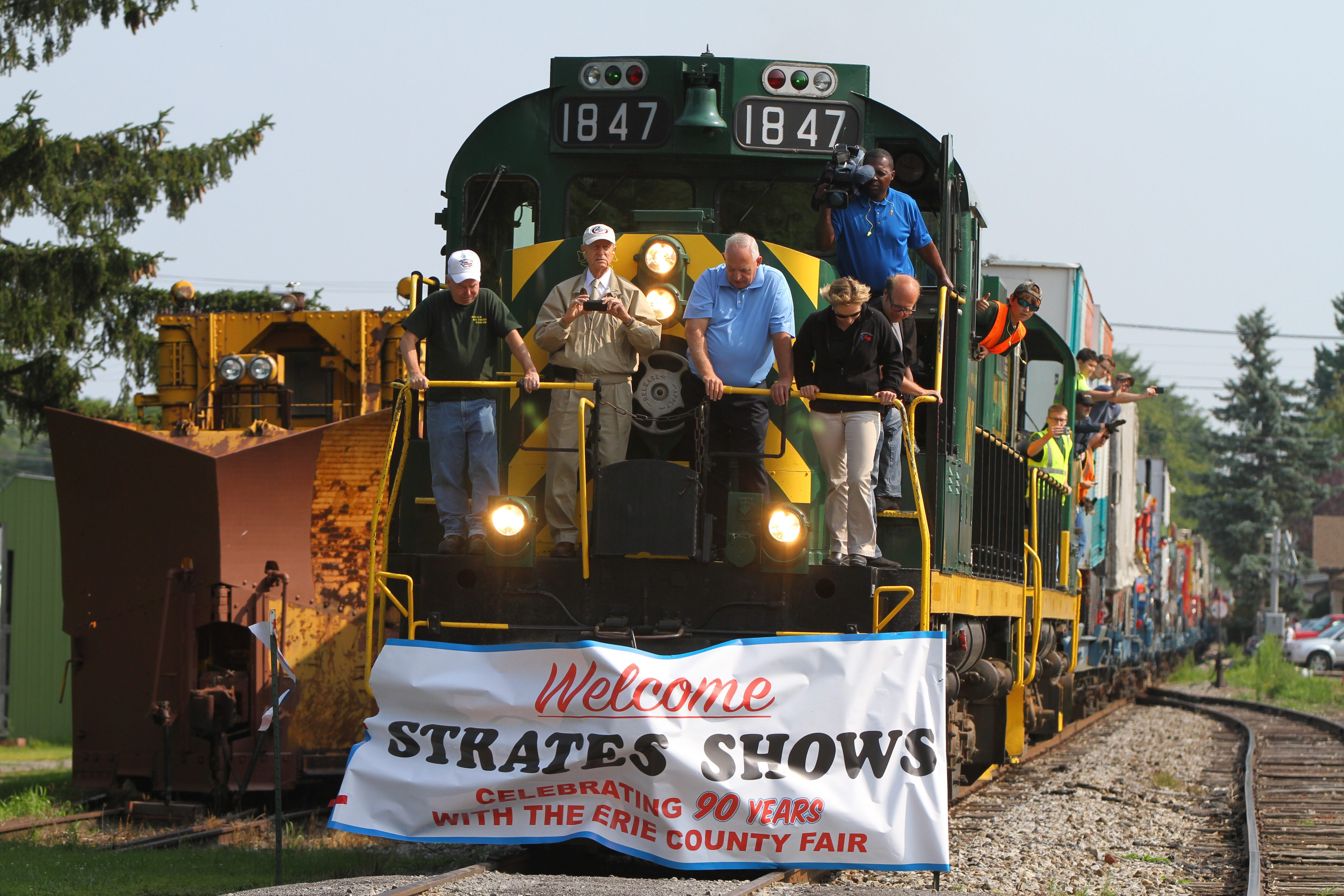 The James E. Strates Shows train pulls into the Erie Railroad Depot in Hamburg Friday, August 1, 2014.   (Mark Mulville/Buffalo News)