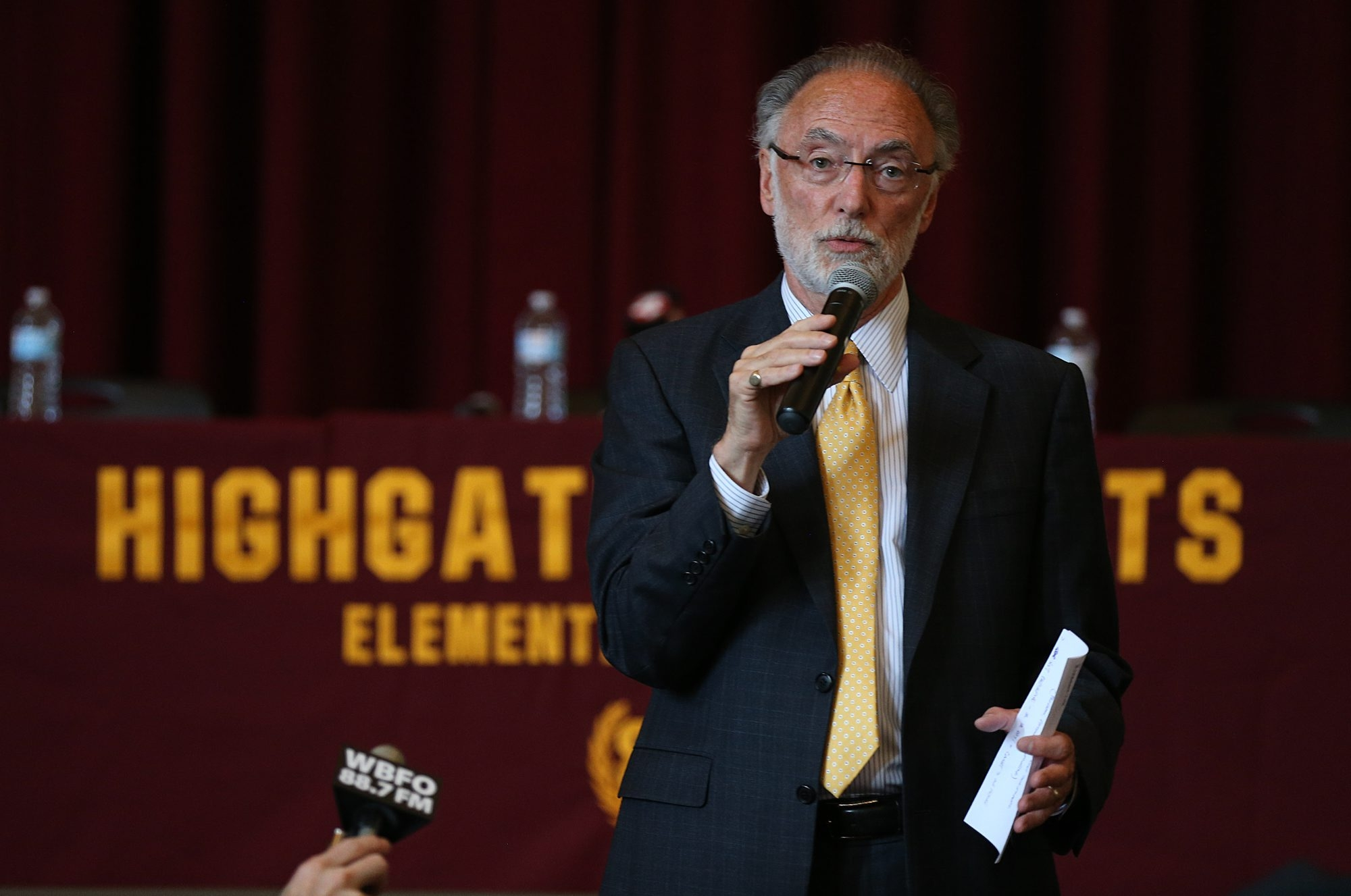 Buffalo School District Interim Superintendent Donald A. Ogilvie speaks to the audience at the start of a meeting with the public last week in Highgate Heights Elementary School in Buffalo.