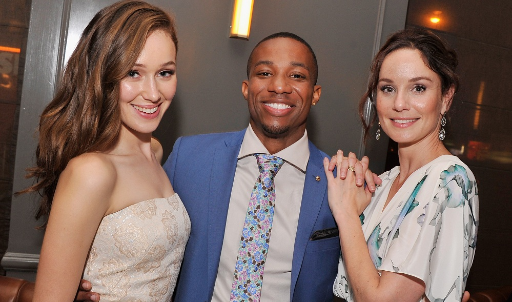 Actors Alycia Debnam-Carey, Arlen Escarpeta, and Sarah Wayne Callies attend the after-party for the premiere of 'Into The Storm.' (Photo by Stephen Lovekin/Getty Images)