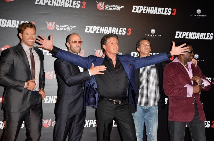 """From left, Kellan Lutz, Jason Statham, Sylvester Stallone, Antonio Banderas and Wesley Snipes at the the """"Expendables 3"""" premiere last week in Paris. (Getty Images)"""