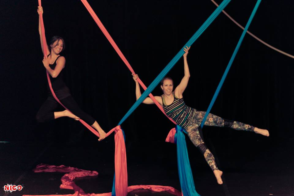 Jenn Kay, left, takes a class from Buffalo Aerial Dance owner Erica Cope, right, at the Alt Theatre. (Michael Nico Nostro/Photography by Nico)