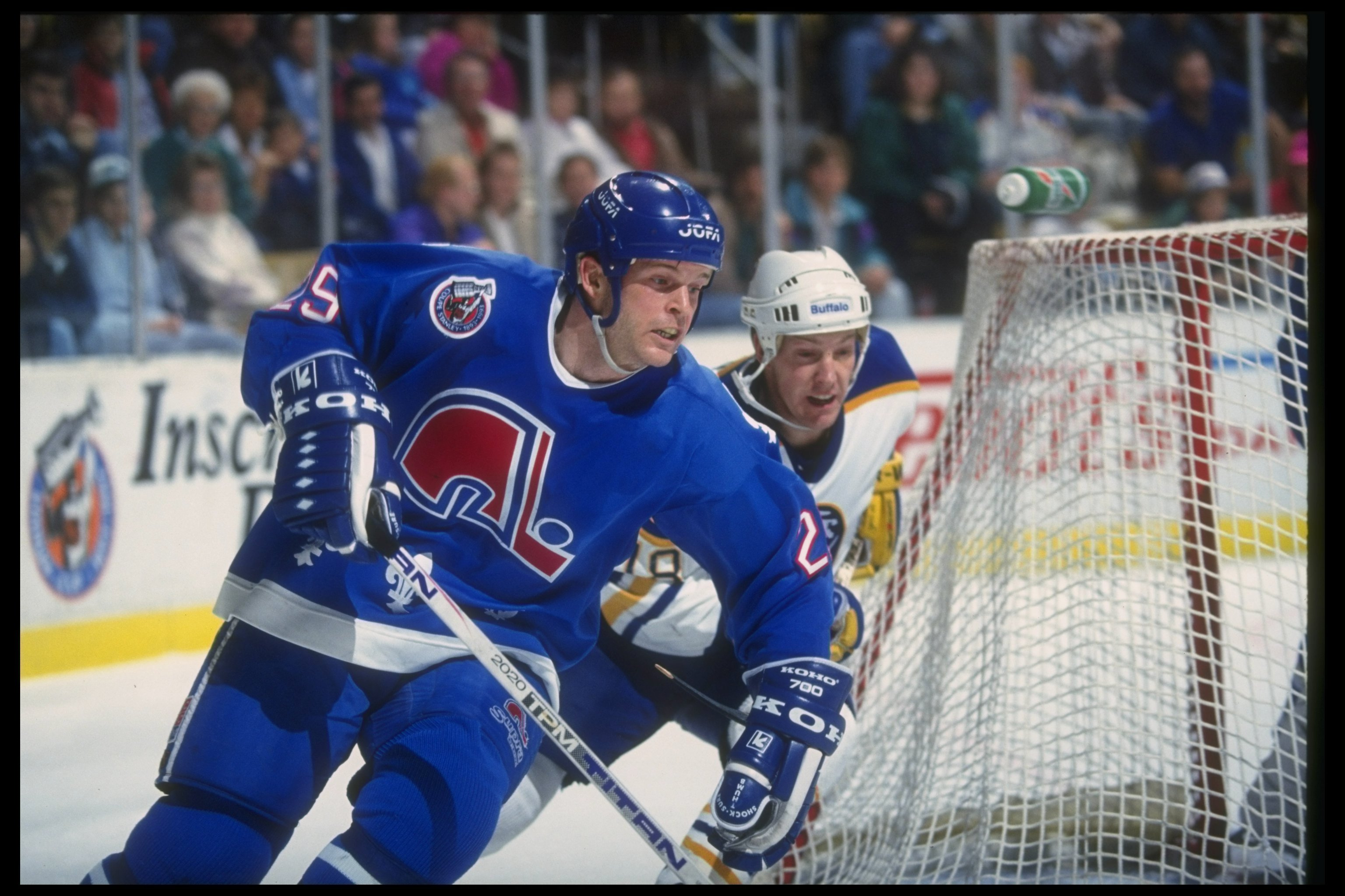 Defenseman Steven Finn of the Quebec Nordiques moves down the ice during a game against the Buffalo Sabres at Memorial Auditorium in 1992. (Rick Stewart /Allsport Getty Images)