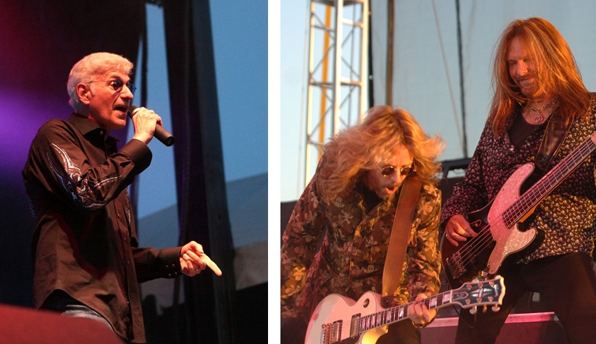 Dennis DeYoung, left, separated from Styx, whose members Tommy Shaw and Ricky Phillips are pictured right. (Robert Kirkham and Sharon Cantillon, L to R / Buffalo News file photos)