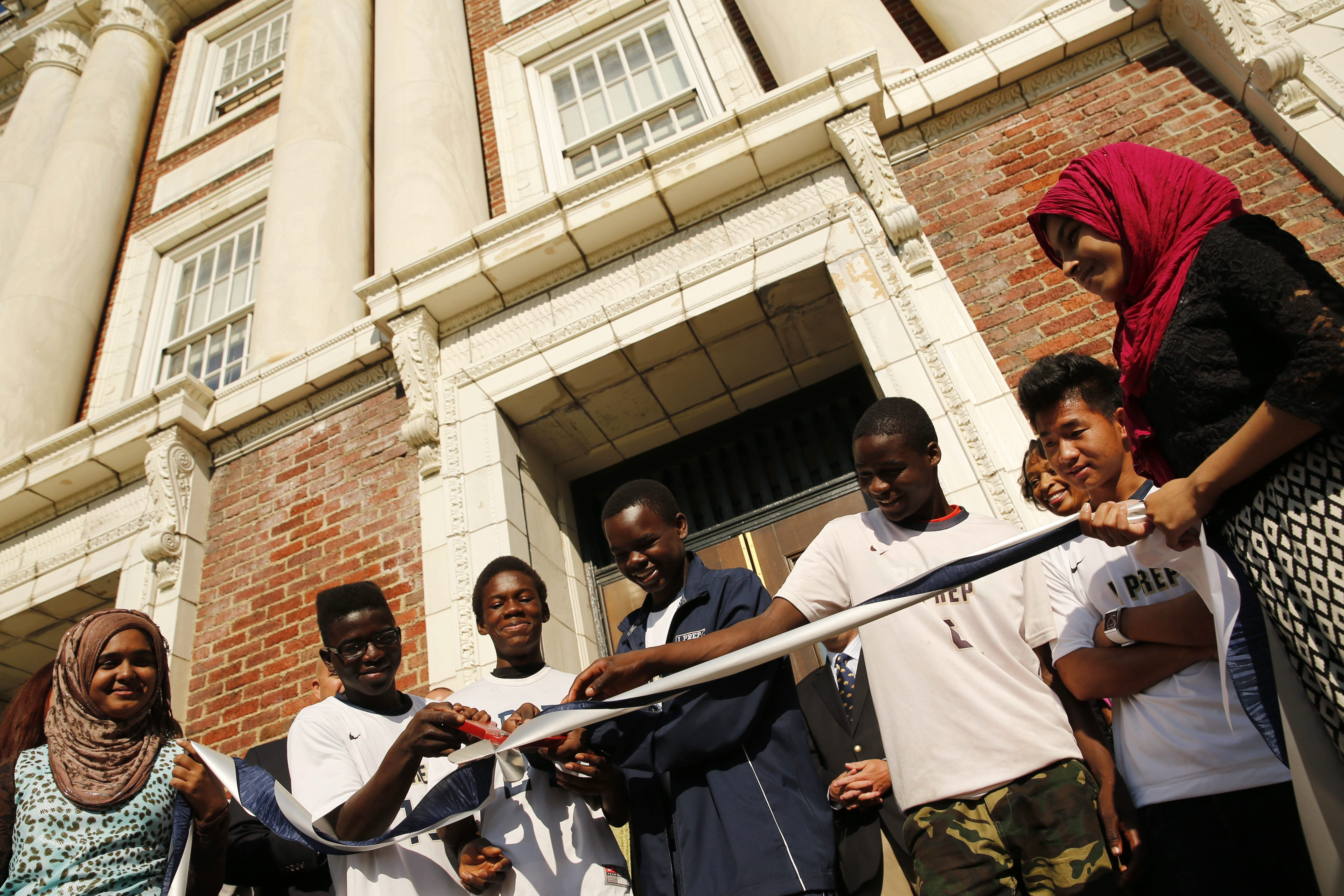 Students cut a ribbon Monday morning during a ceremony to officially unveil the renovations at International Preparatory School 198 at the former Grover Cleveland High School on Buffalo's lower West Side. See a photo gallery at BuffaloNews.com.