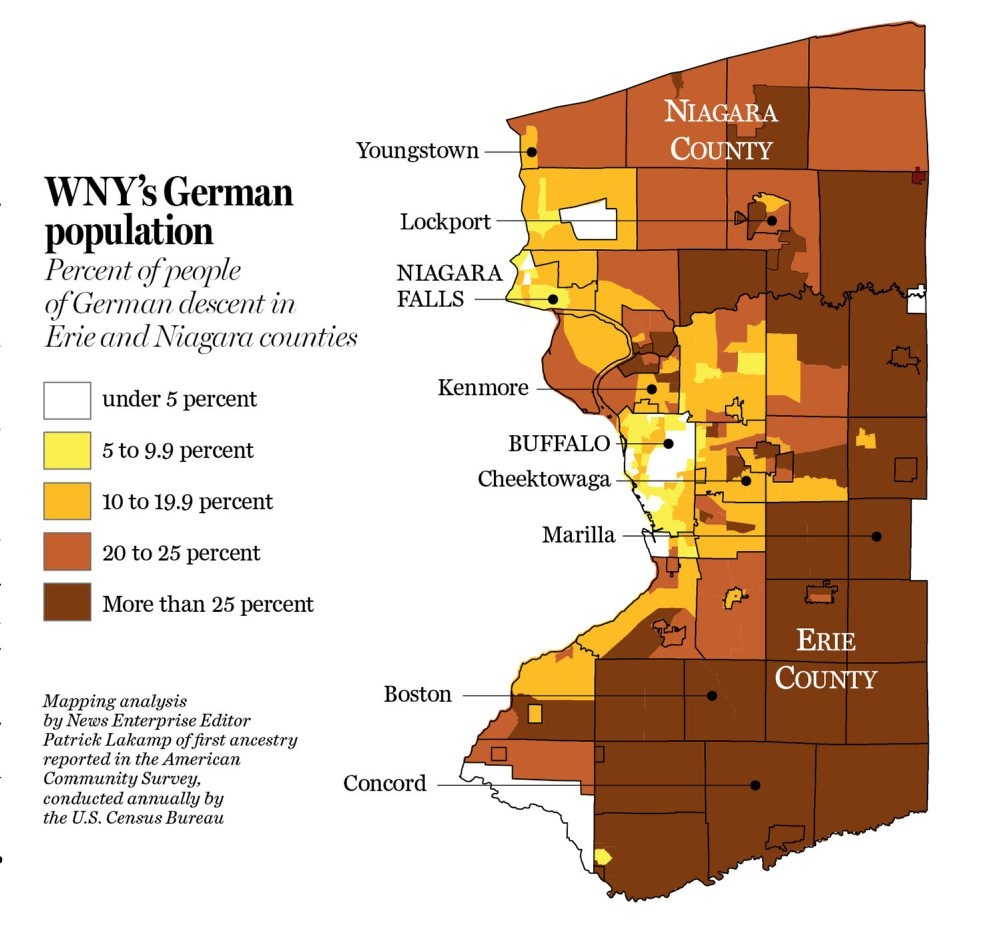 map shows the percentage of people of german descent in erie and niagara counties