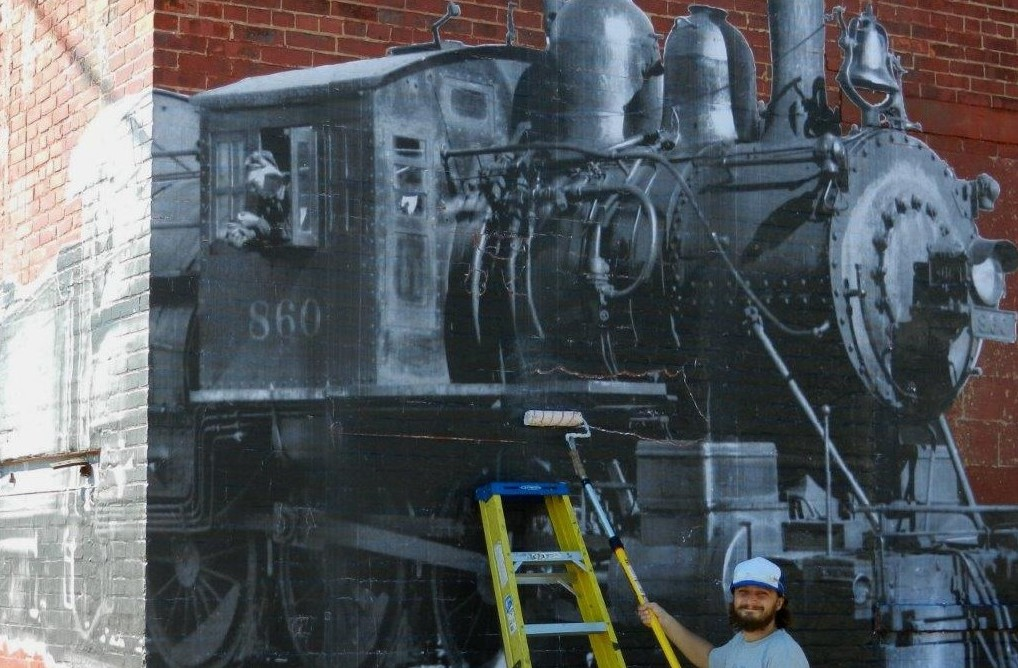 Locomotive collage near the Barrel Factory in the Old First Ward.