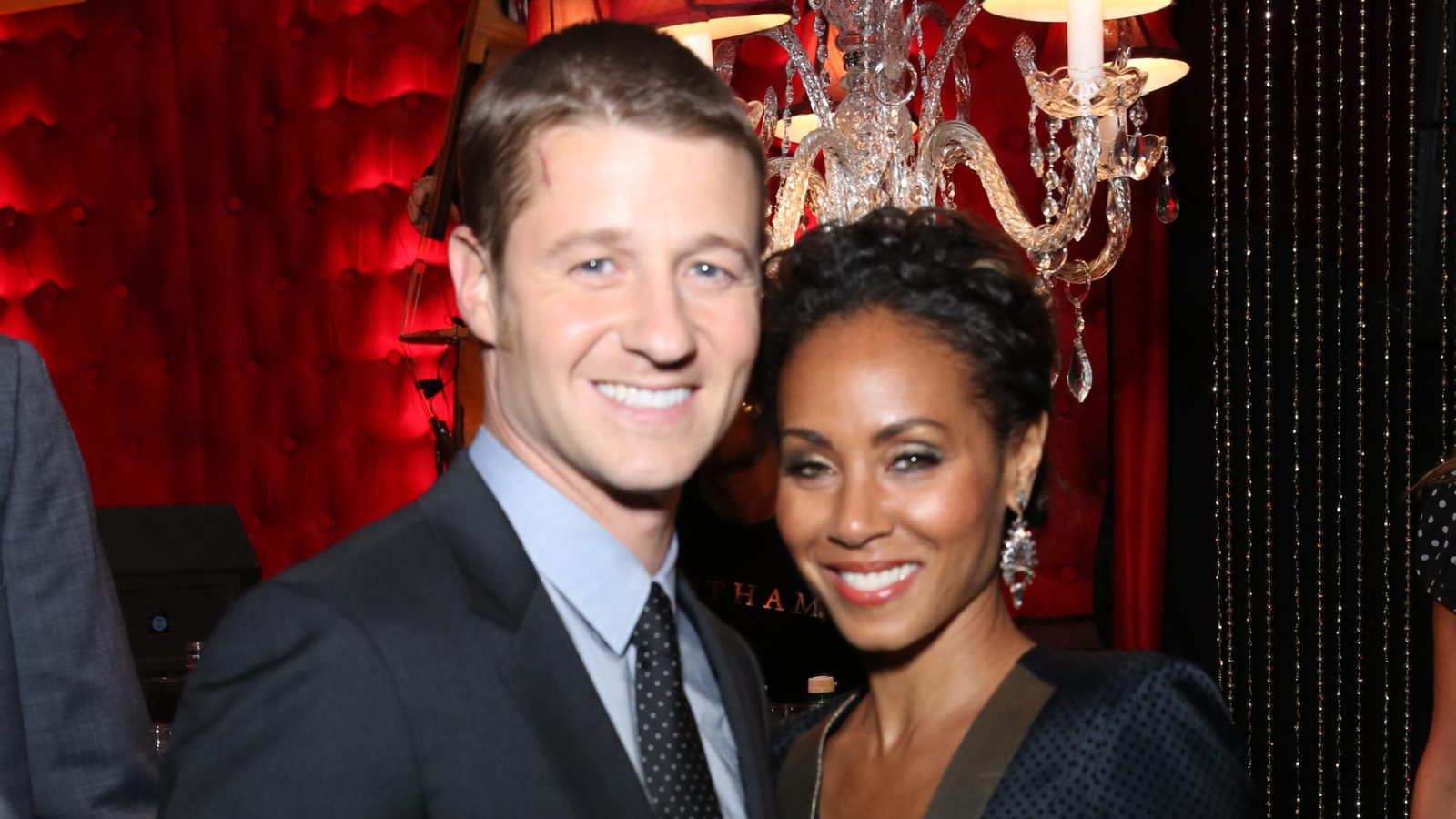 Gotham cast members Ben McKenzie and Jada Pinkett Smith celebrate during the series premiere event. (Fox)